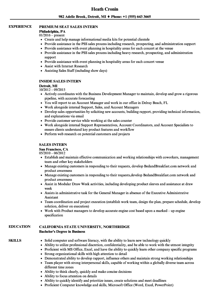 Sales Intern Resume Samples | Velvet Jobs