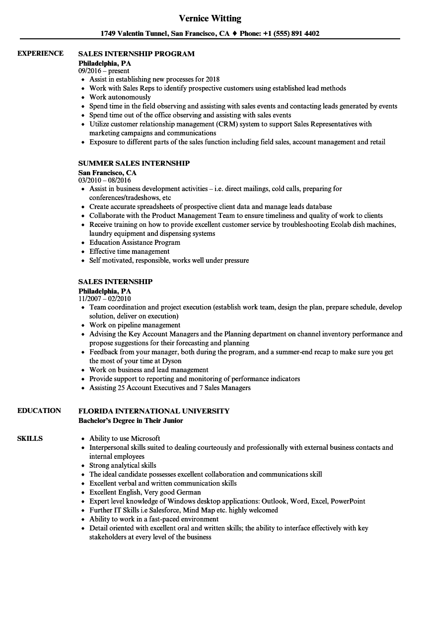 Sales Internship Resume Samples | Velvet Jobs
