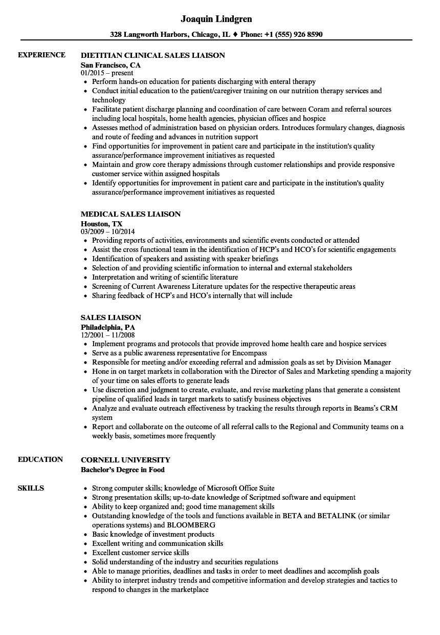 sales liaison resume samples