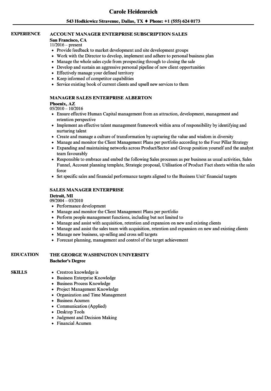 Sales Manager Enterprise Resume Samples | Velvet Jobs