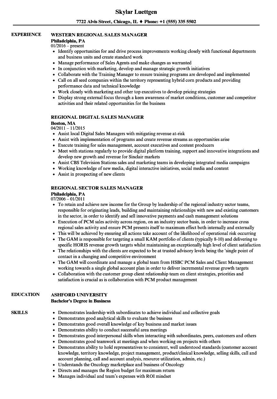 sales manager  regional resume samples