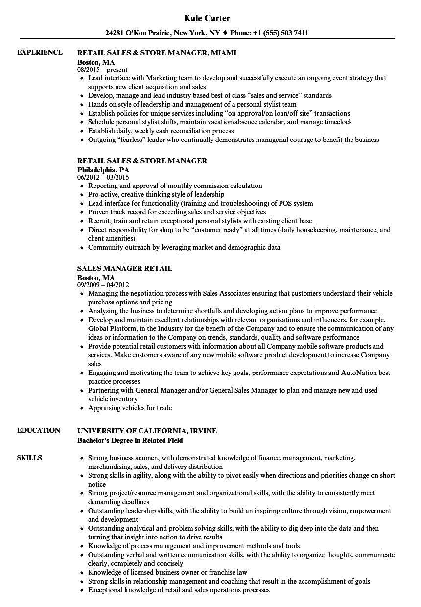 sales manager retail resume samples