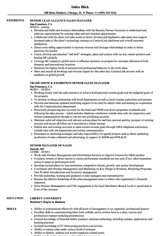 Sales Manager Senior Resume Samples | Velvet Jobs
