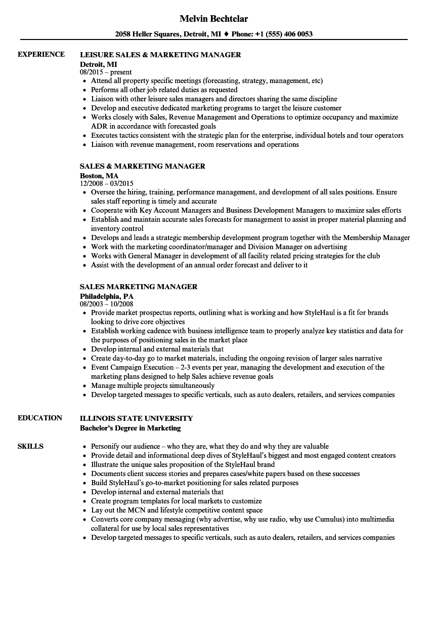 sales marketing manager resume samples | velvet jobs