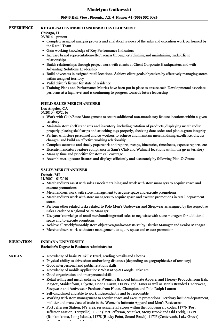 Sales Merchandiser Resume Samples Velvet Jobs
