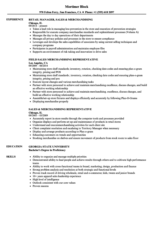 sales  u0026 merchandising resume samples