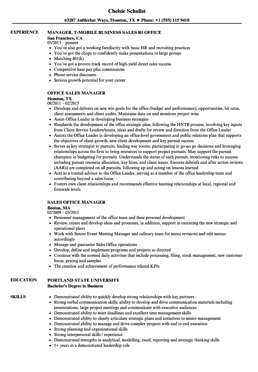 sales office manager resume samples