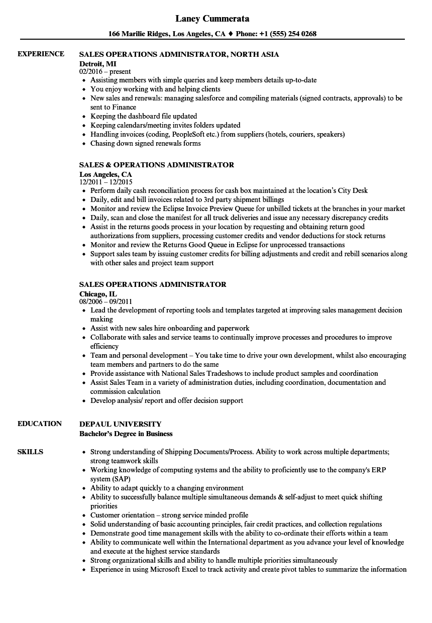 Sales Operations Administrator Resume Samples | Velvet Jobs