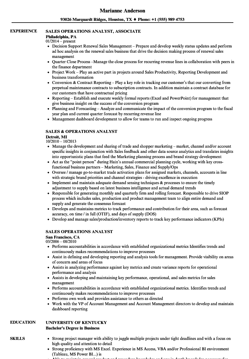 Sales Operations Analyst Resume Samples | Velvet Jobs