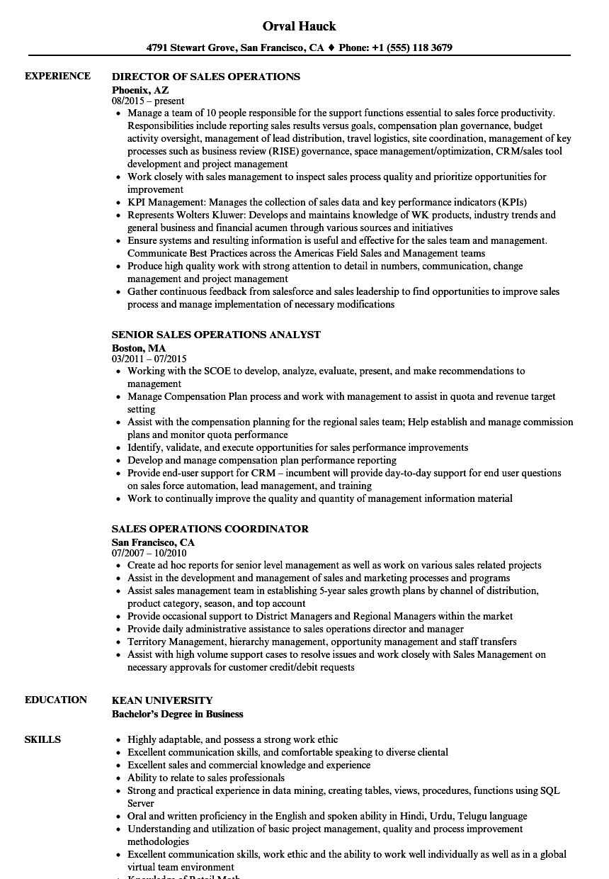 Business Management Resume Examples | Sales Operations Resume Samples Velvet Jobs