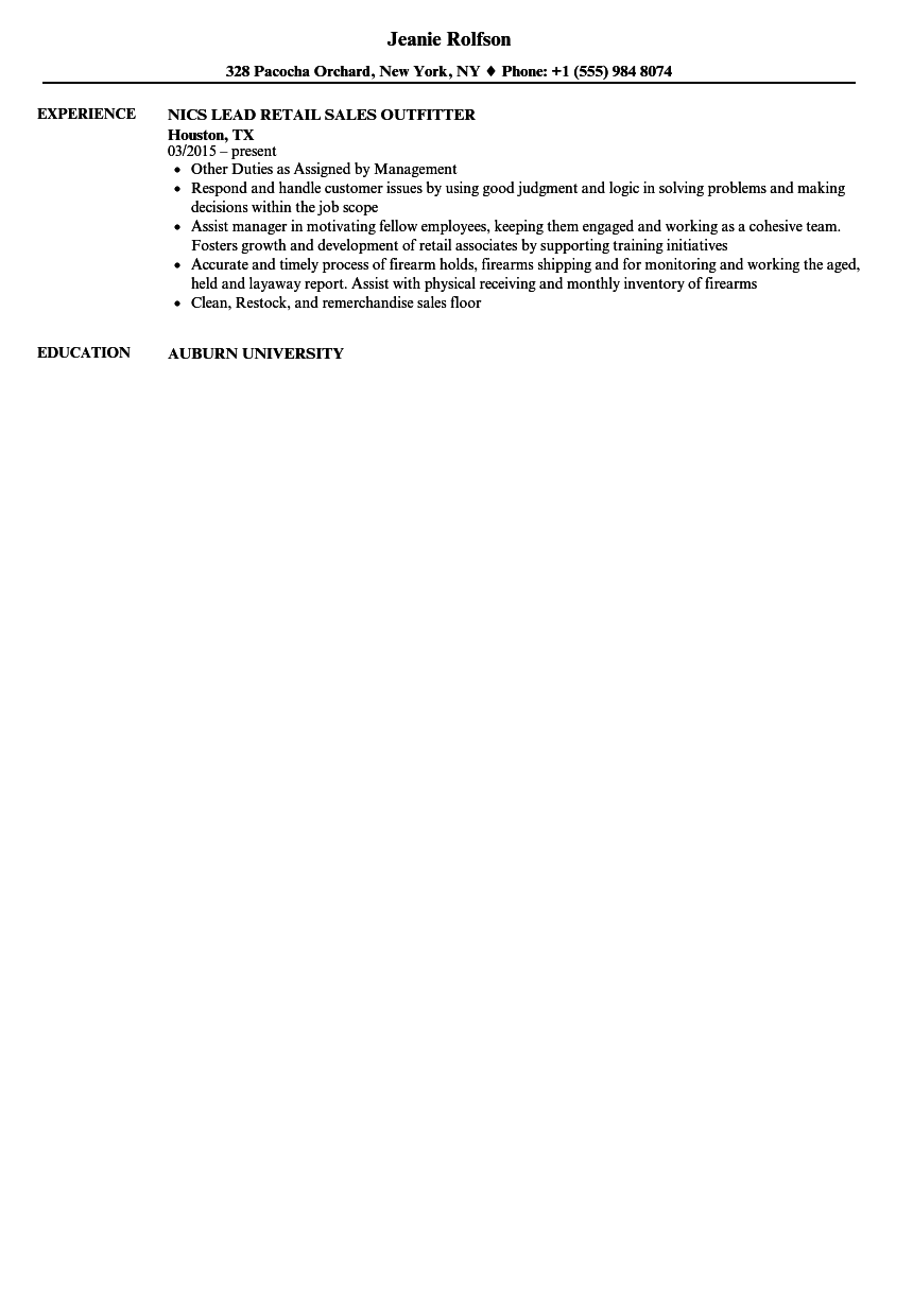 sales outfitter resume samples