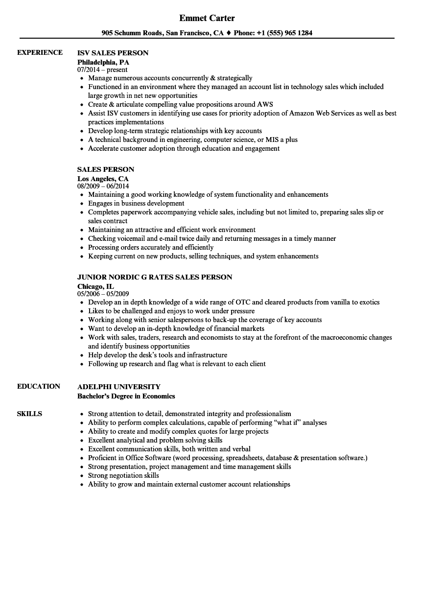 Resume for sales person