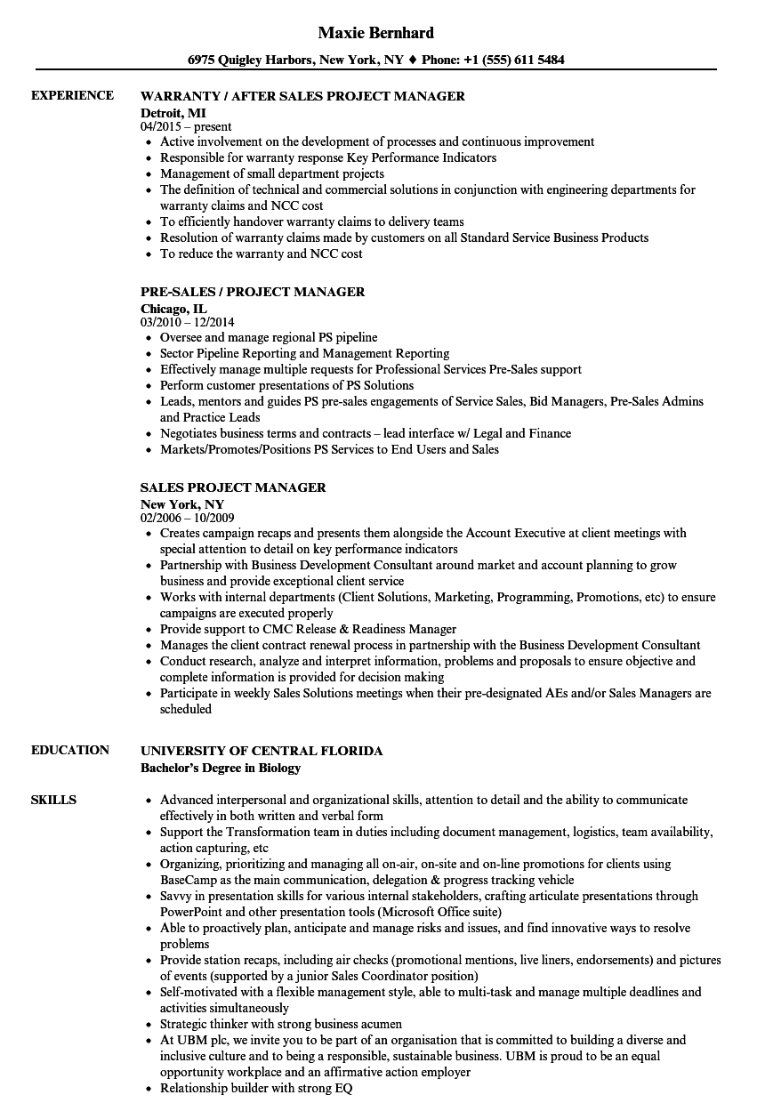 Sales Project Manager Resume Samples | Velvet Jobs