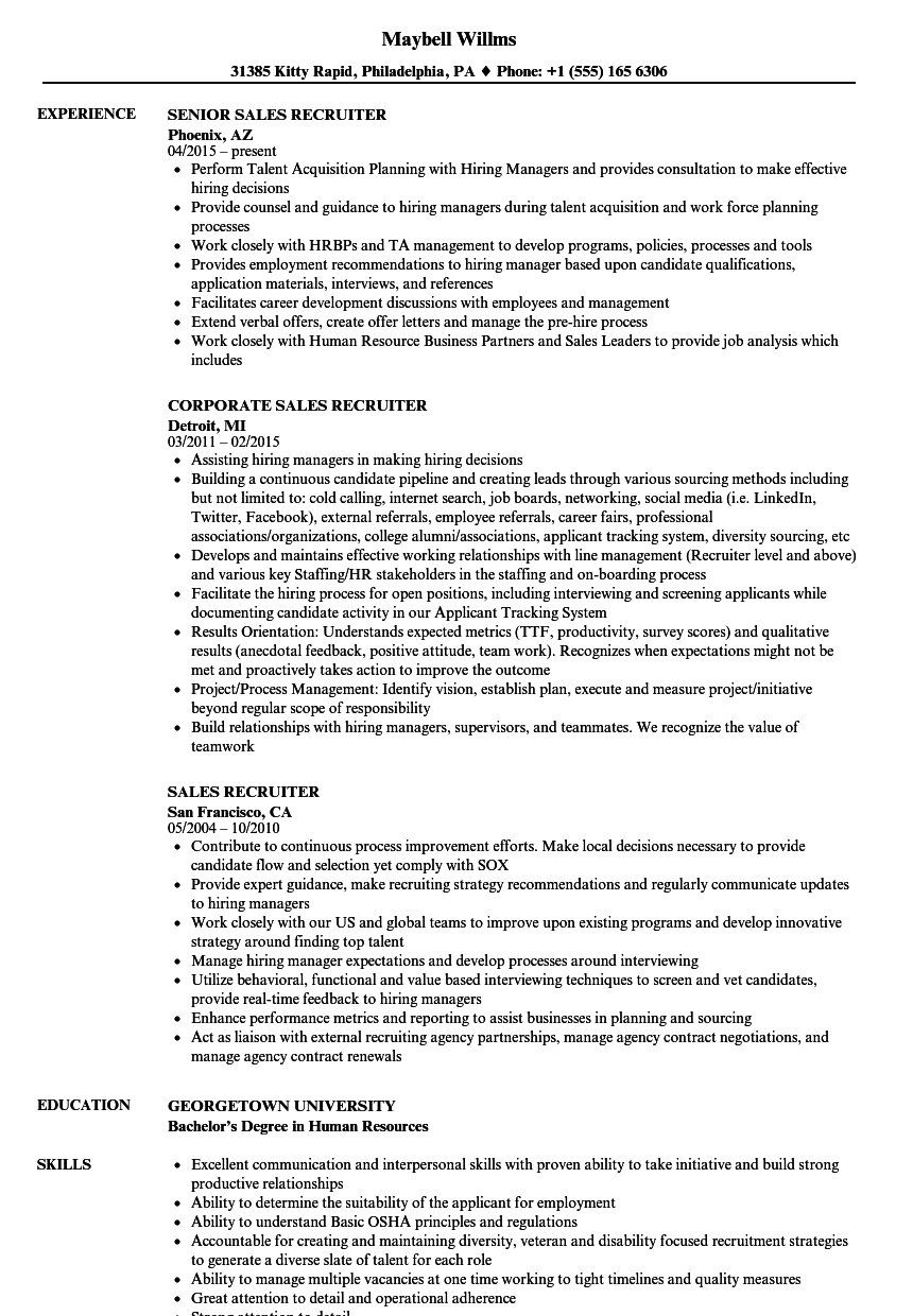 sales recruiter resume samples