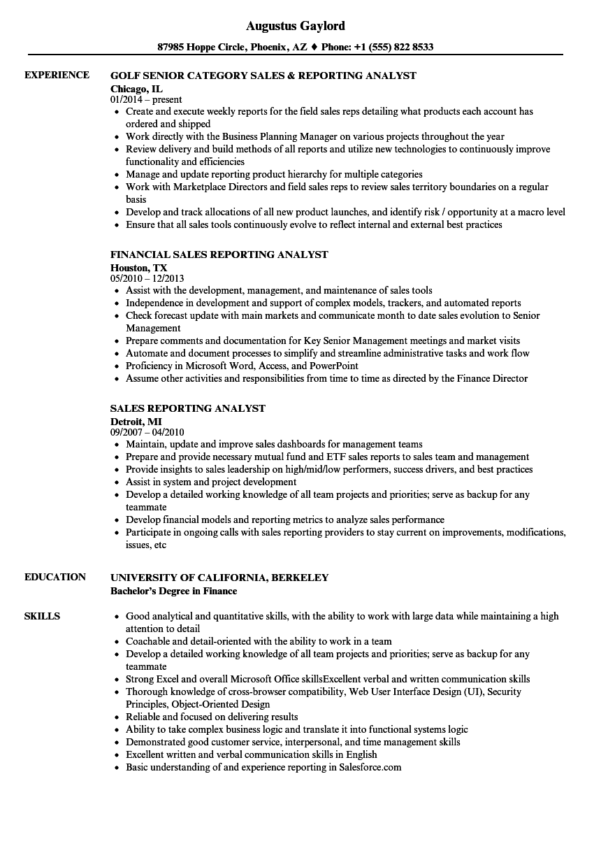 Sales Reporting Analyst Resume Samples Velvet Jobs