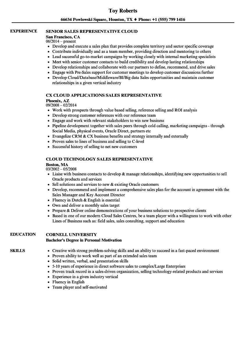 resume sales representative
