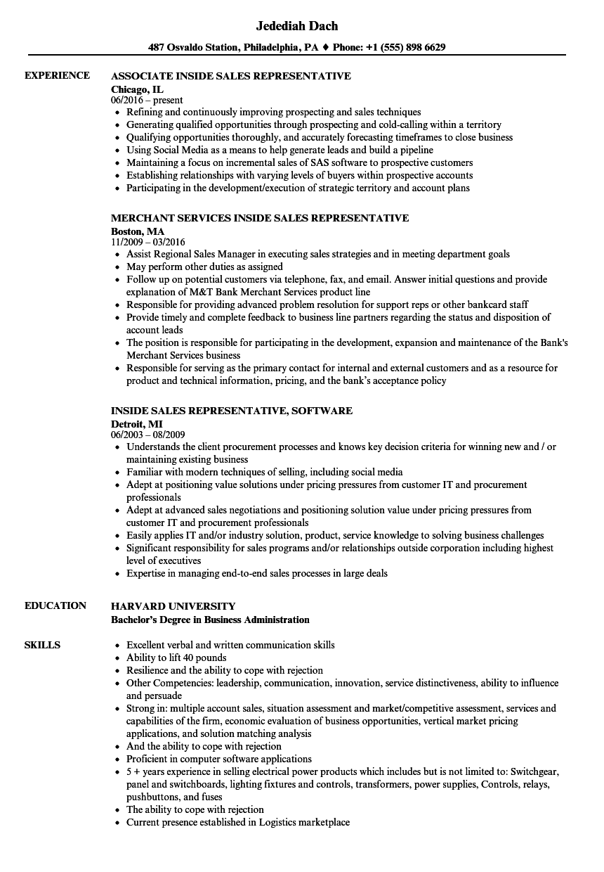 sales representative inside sales resume samples