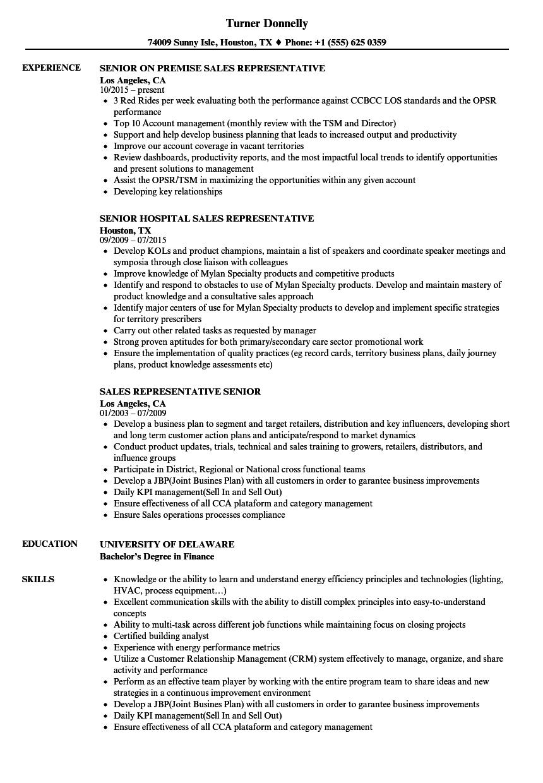 download sales representative senior resume sample as image file - Resume Sales Representative