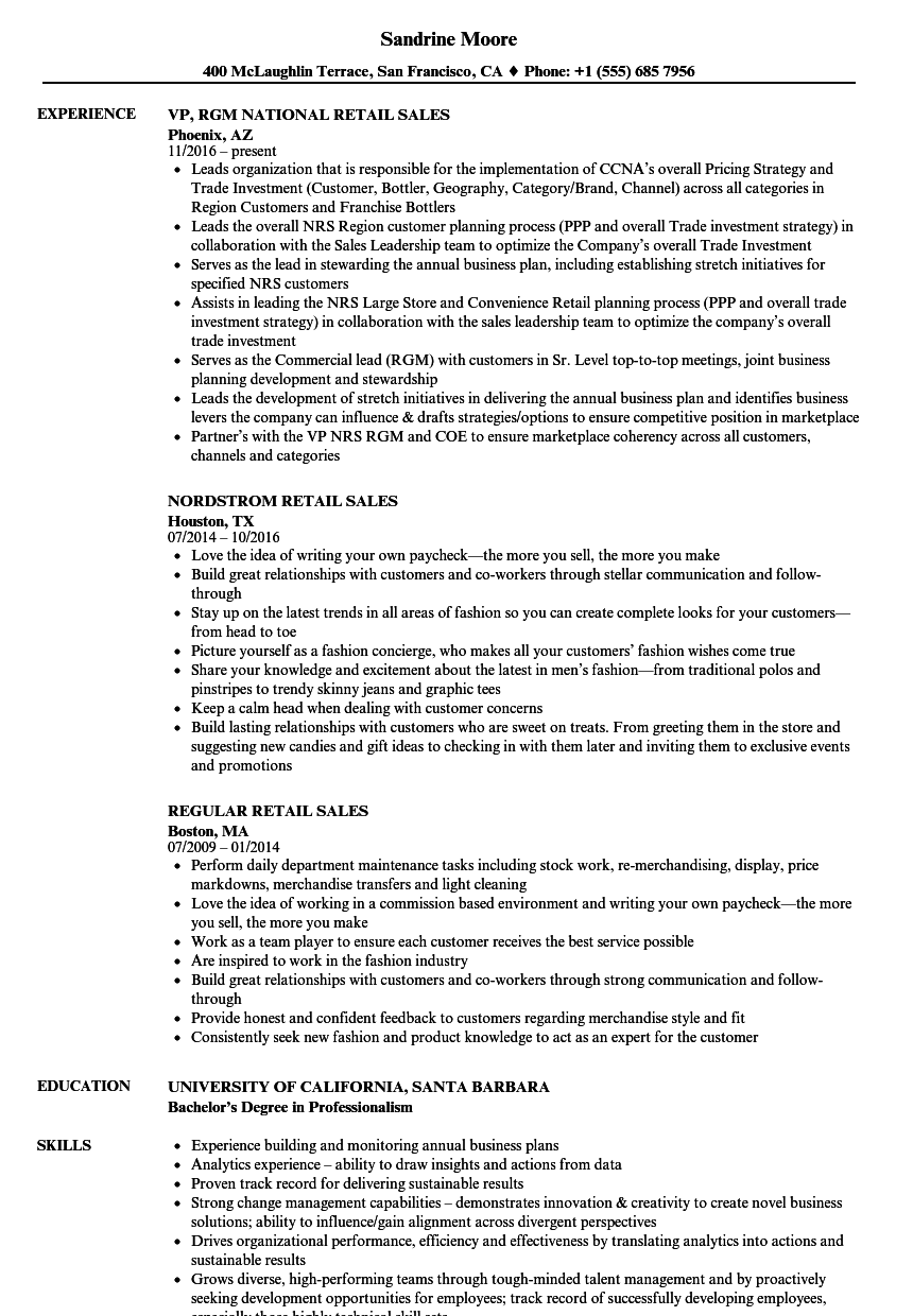 Sales Retail Resume Samples  Velvet Jobs
