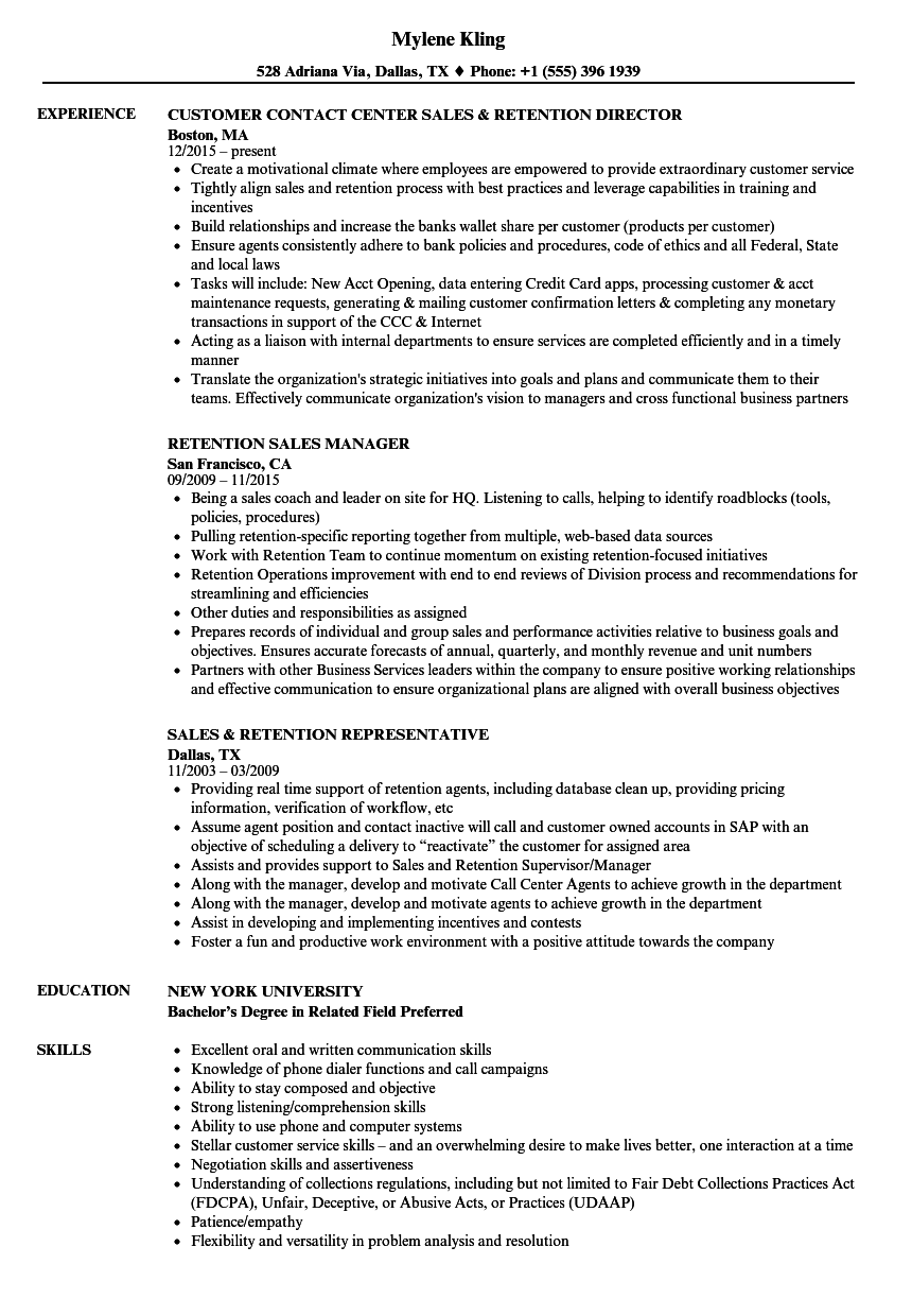 Sales & Retention Resume Samples | Velvet Jobs