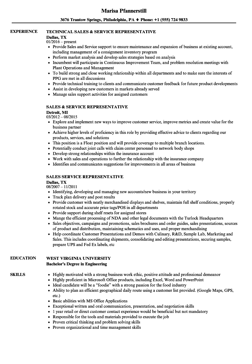 Sales Service Representative Resume Samples | Velvet Jobs