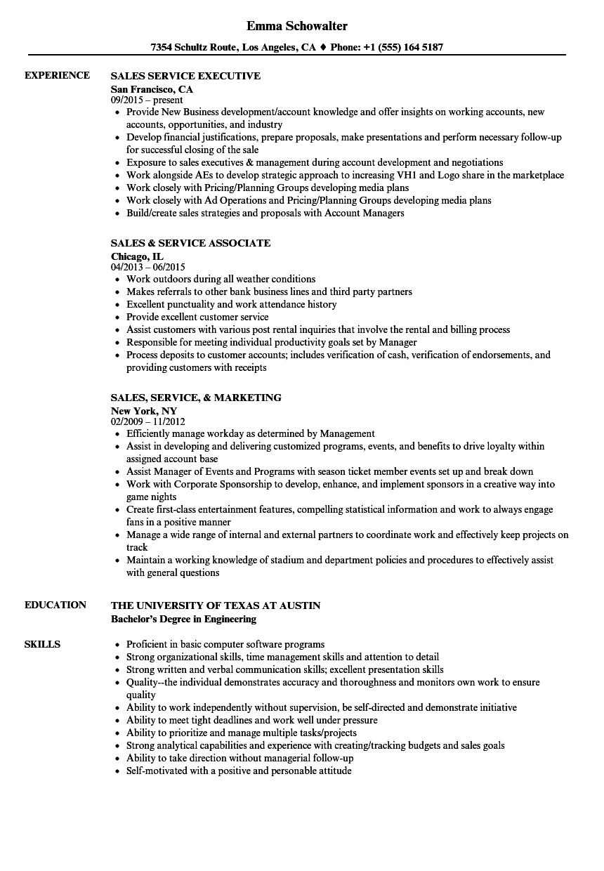 Sales Service Resume Samples | Velvet Jobs