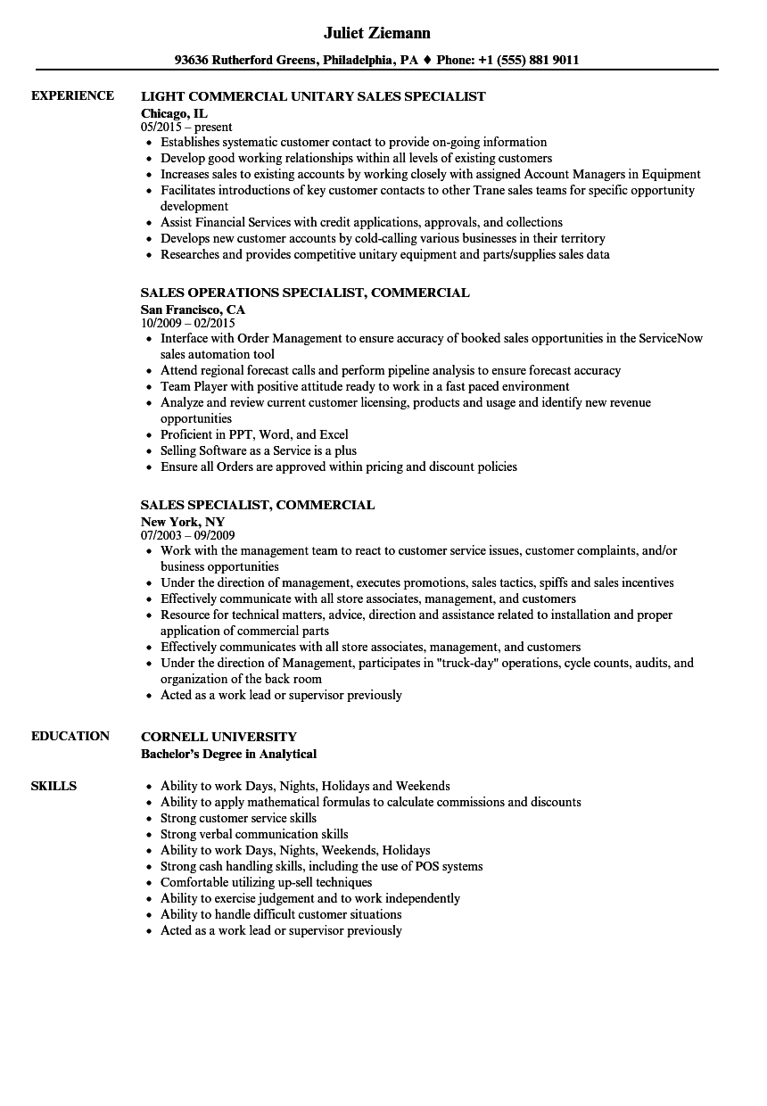 sales specialist  commercial resume samples