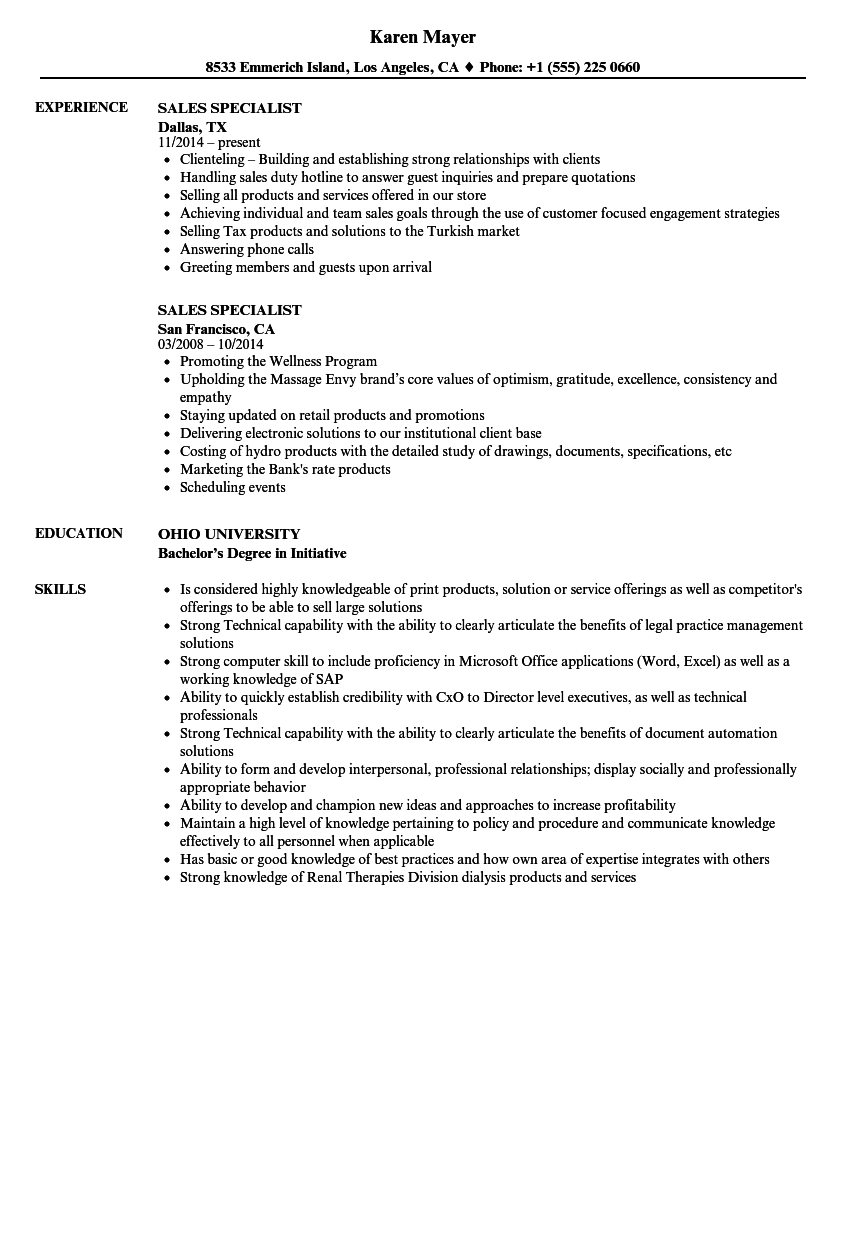 Sales Specialist Resume Samples Velvet Jobs