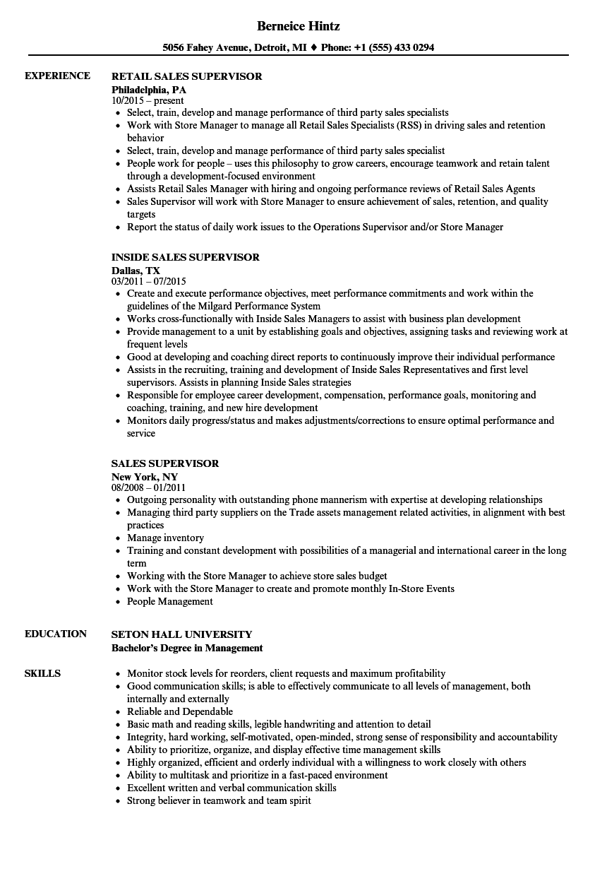 Sales Supervisor Resume Samples Velvet Jobs