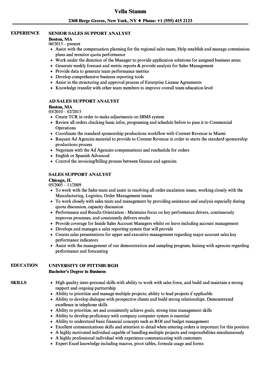 Sales Support Analyst Resume Samples | Velvet Jobs