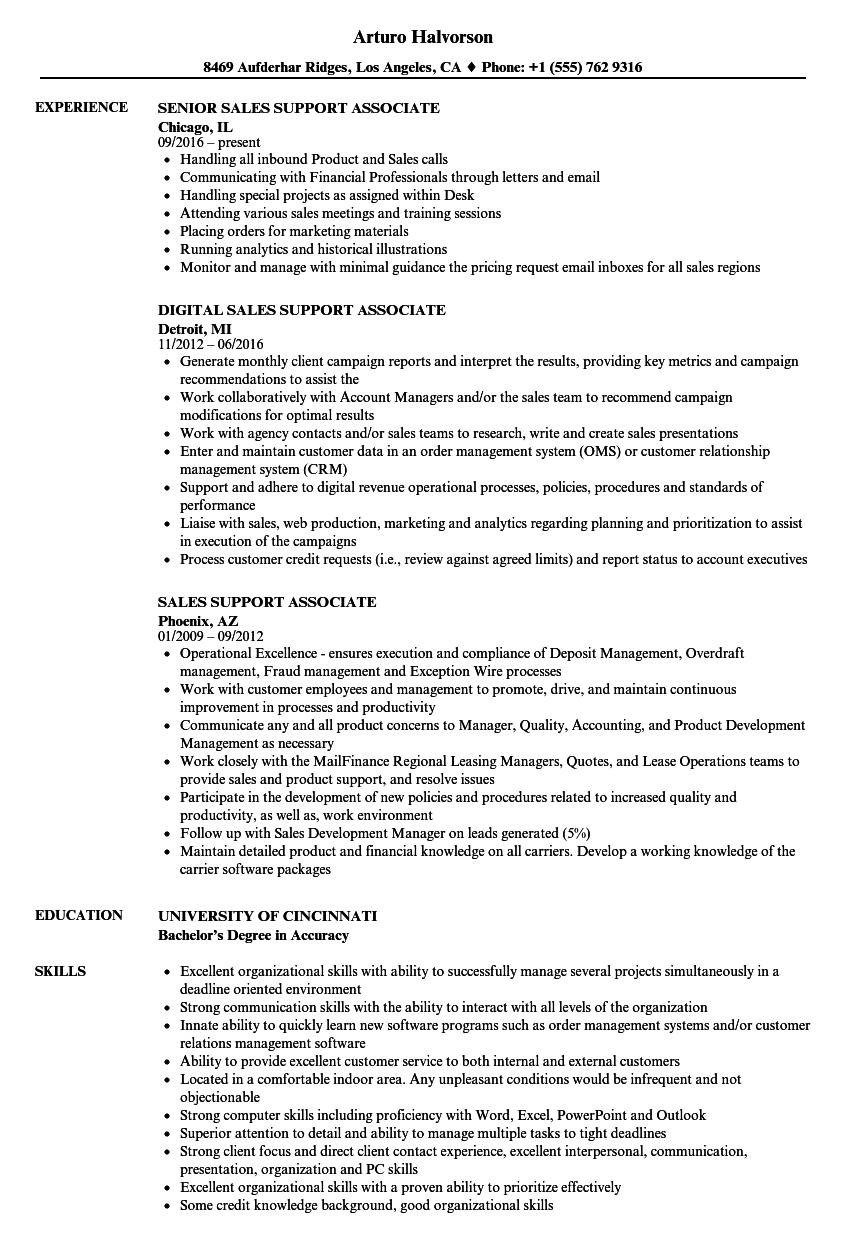 sales support associate resume samples velvet jobs