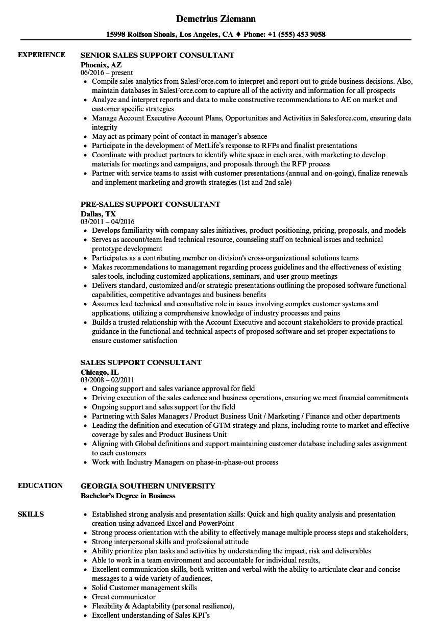sales support consultant resume samples