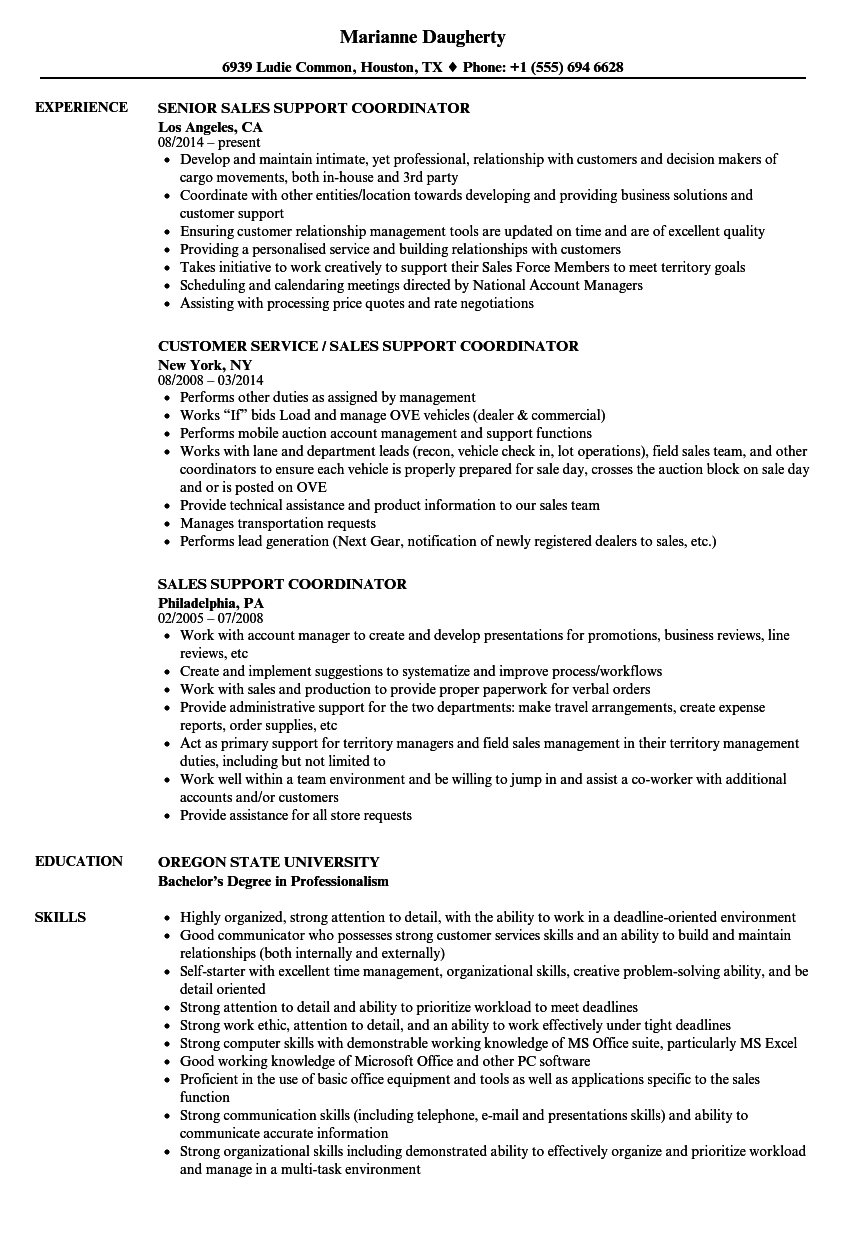 project coordinator resume samples download logistics coordinator