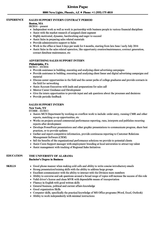 sales support intern resume samples