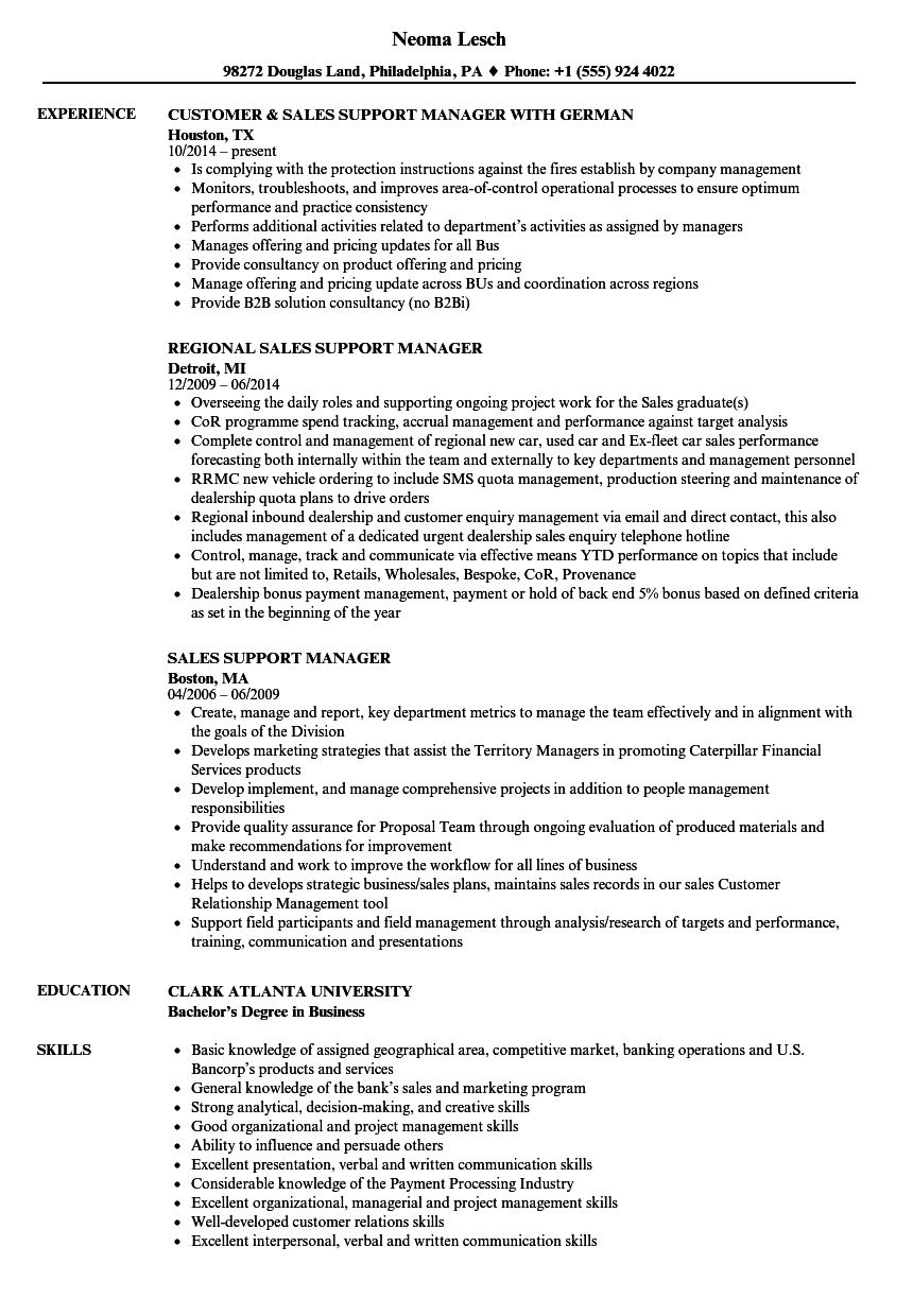 Sales Support Manager Resume Samples | Velvet Jobs
