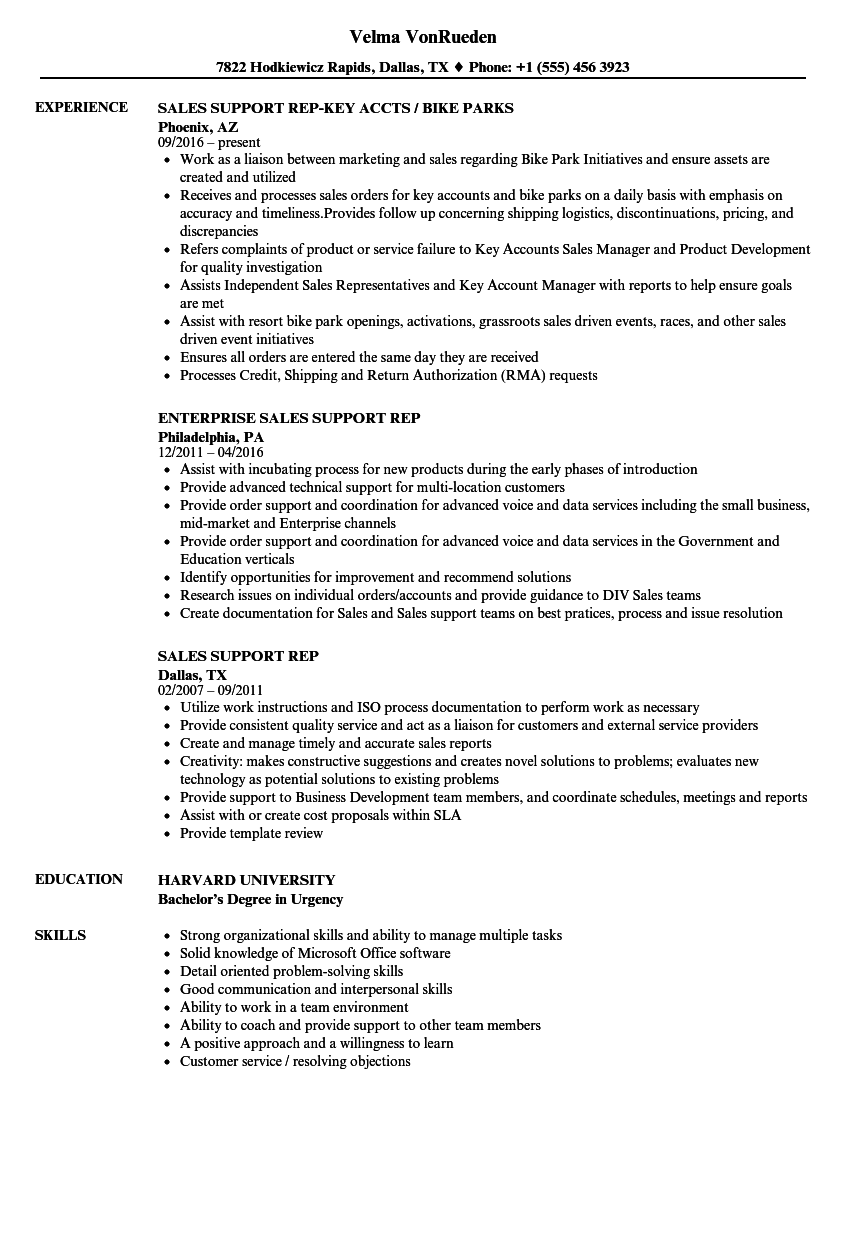 sales support rep resume samples