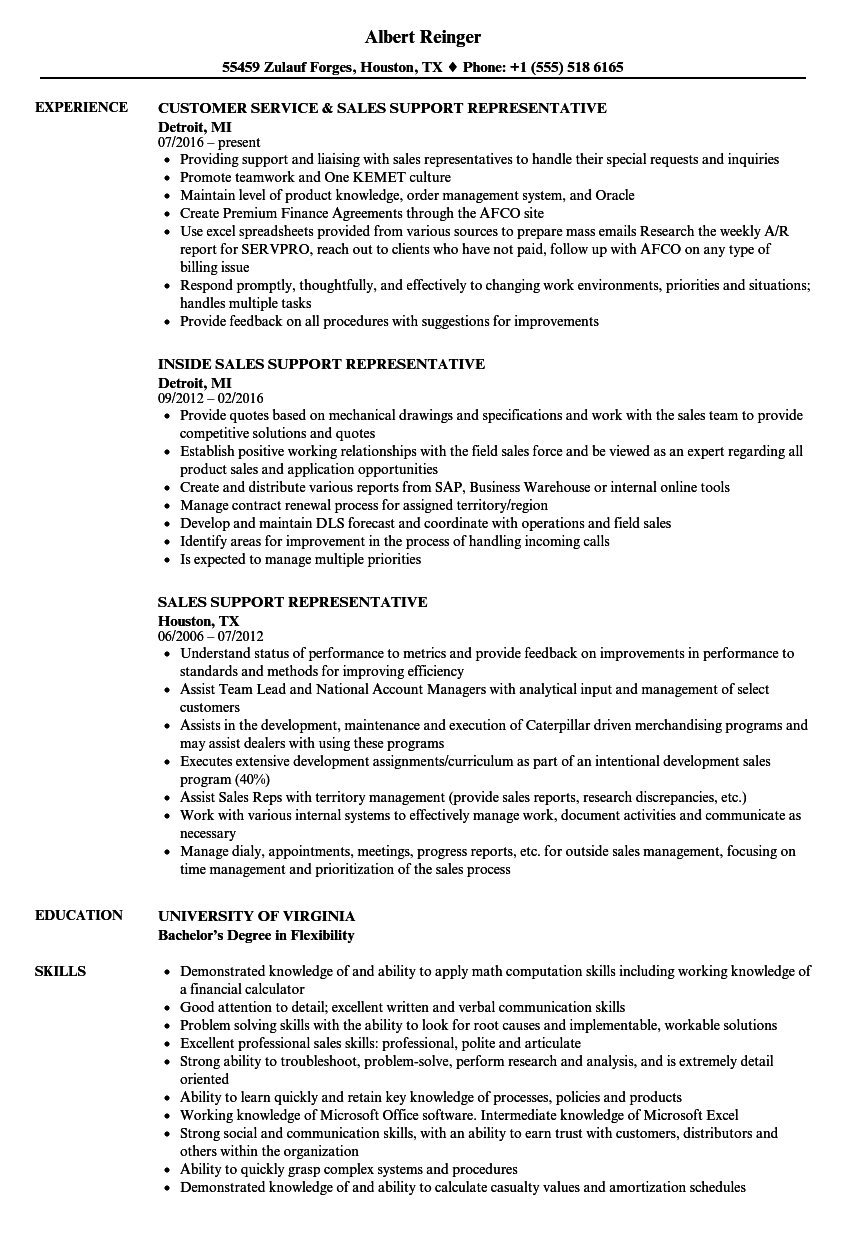 Sales Support Representative Resume Samples Velvet Jobs
