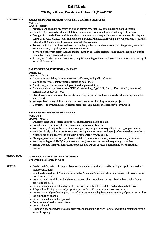 sales support senior analyst resume samples