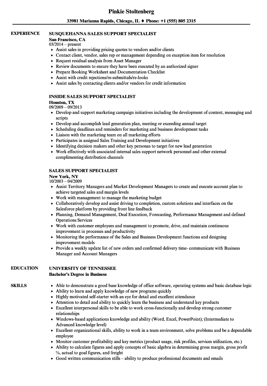 support specialist resumes