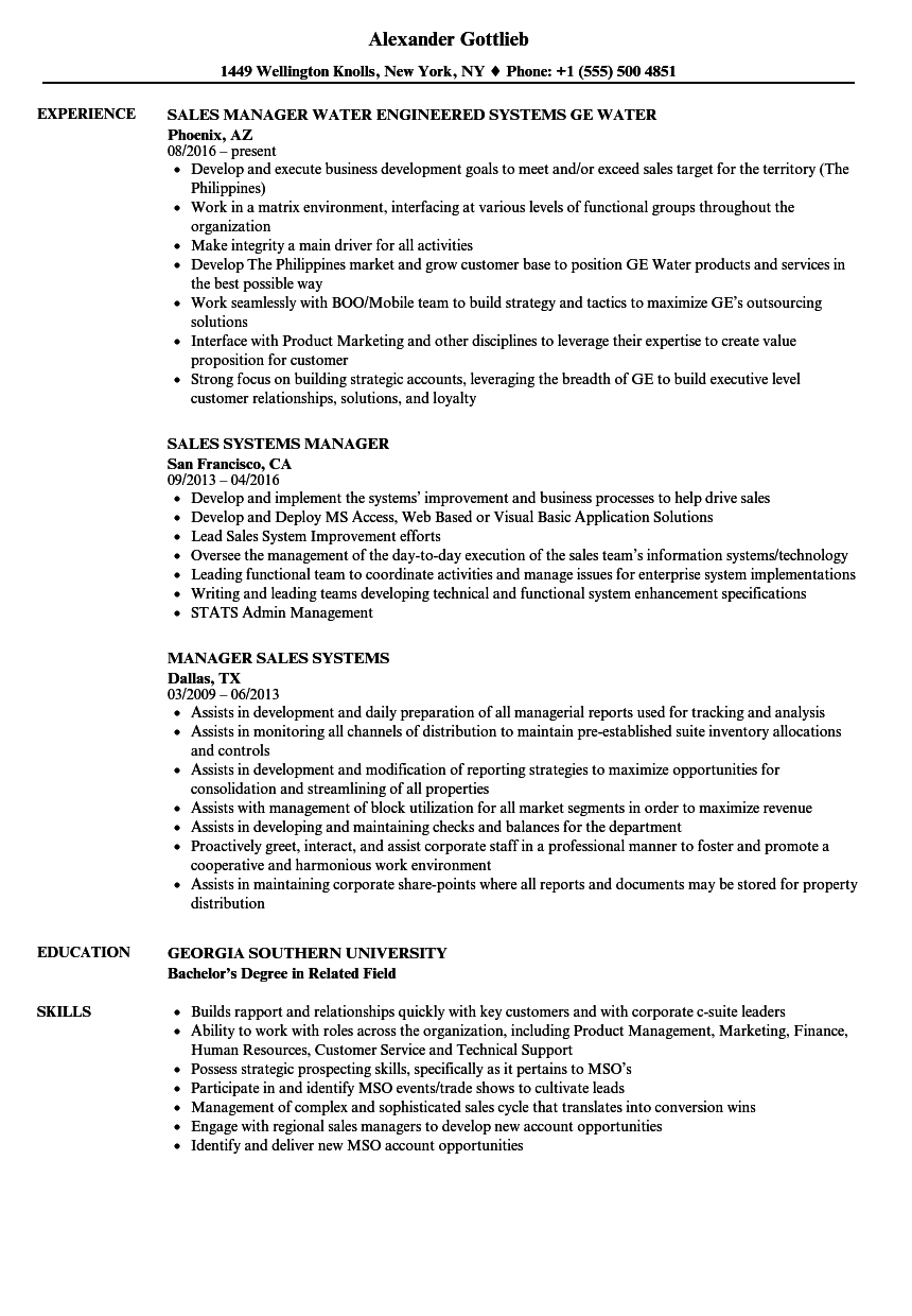 sales systems manager resume samples