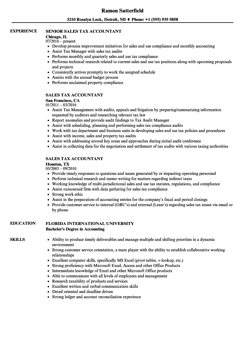Sales tax Accountant Resume Samples | Velvet Jobs