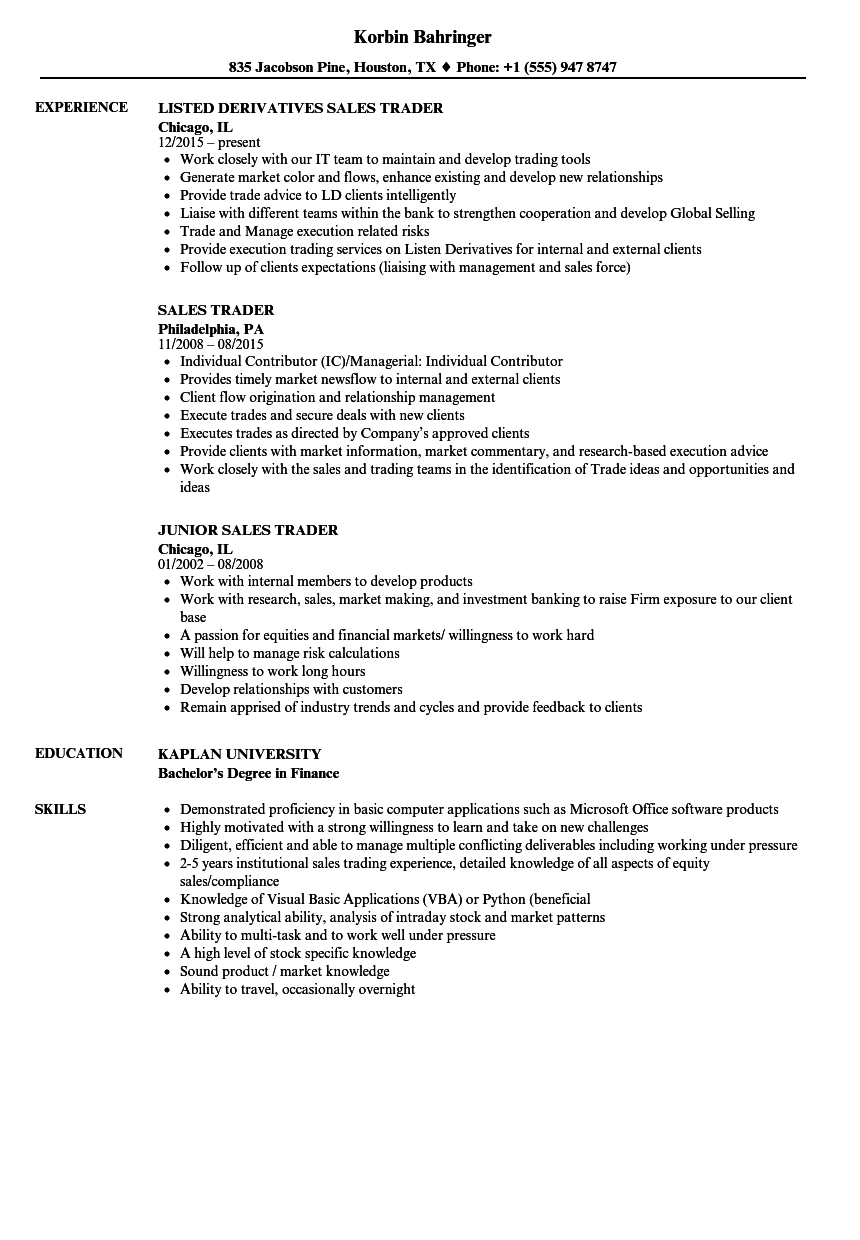 Sales Job Resume | sales trader resume sample