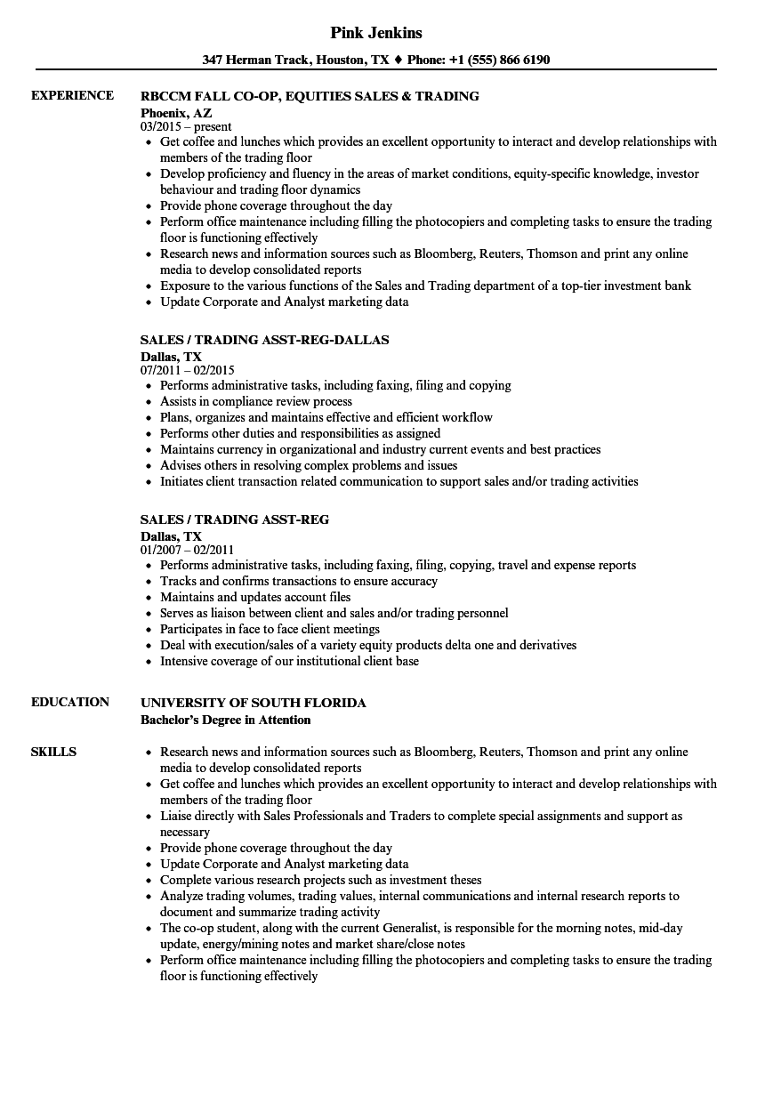 download sales trading resume sample as image file - Sample Resume Equity Sales Trader