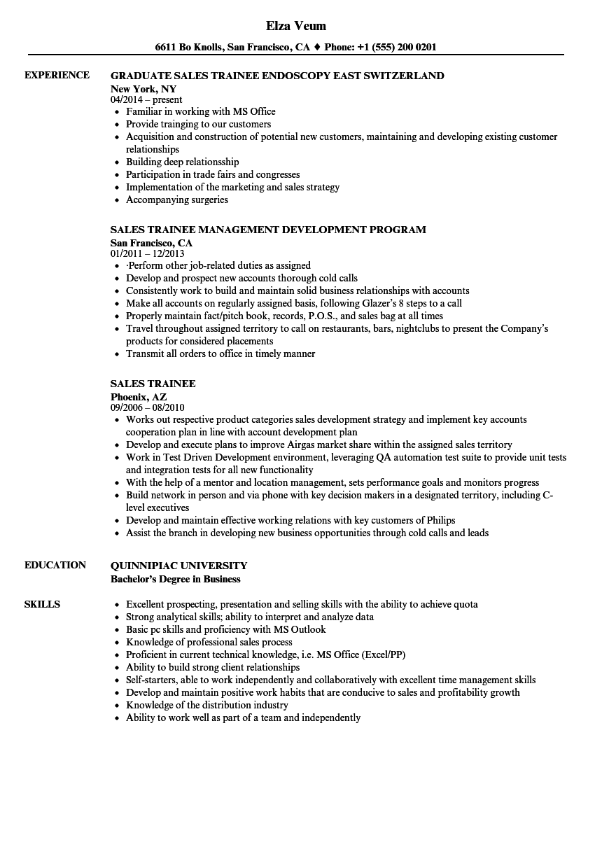 Sales Trainee Resume Samples | Velvet Jobs