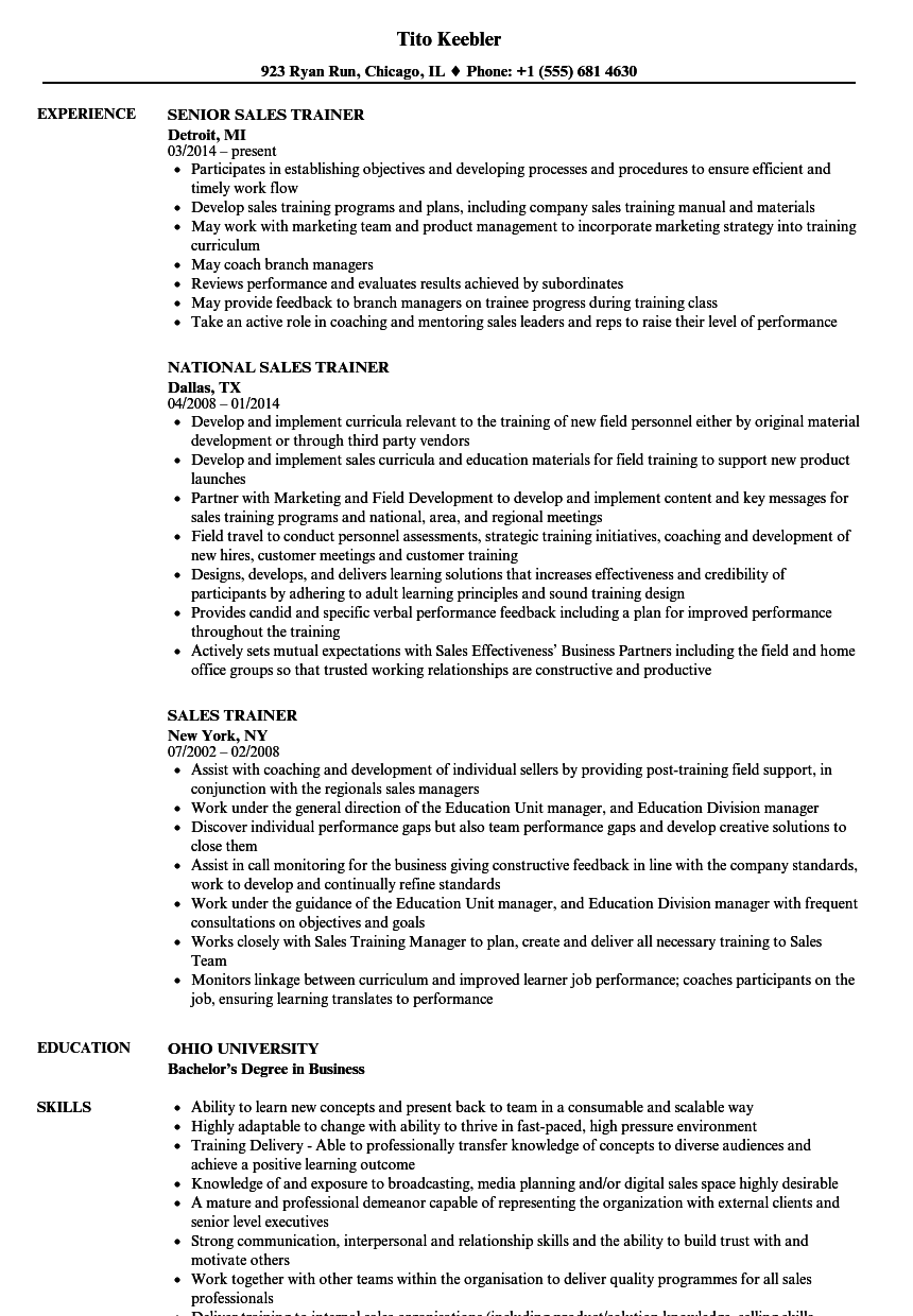 Sales Trainer Resume Samples Velvet Jobs
