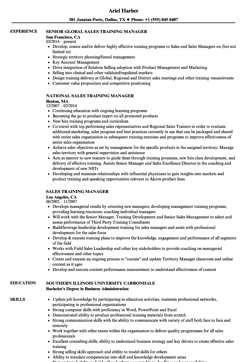 sales training manager resume samples