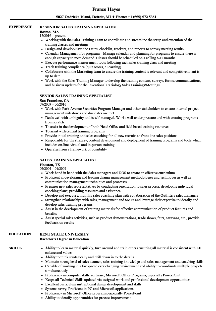 Download Sales Training Specialist Resume Sample As Image File
