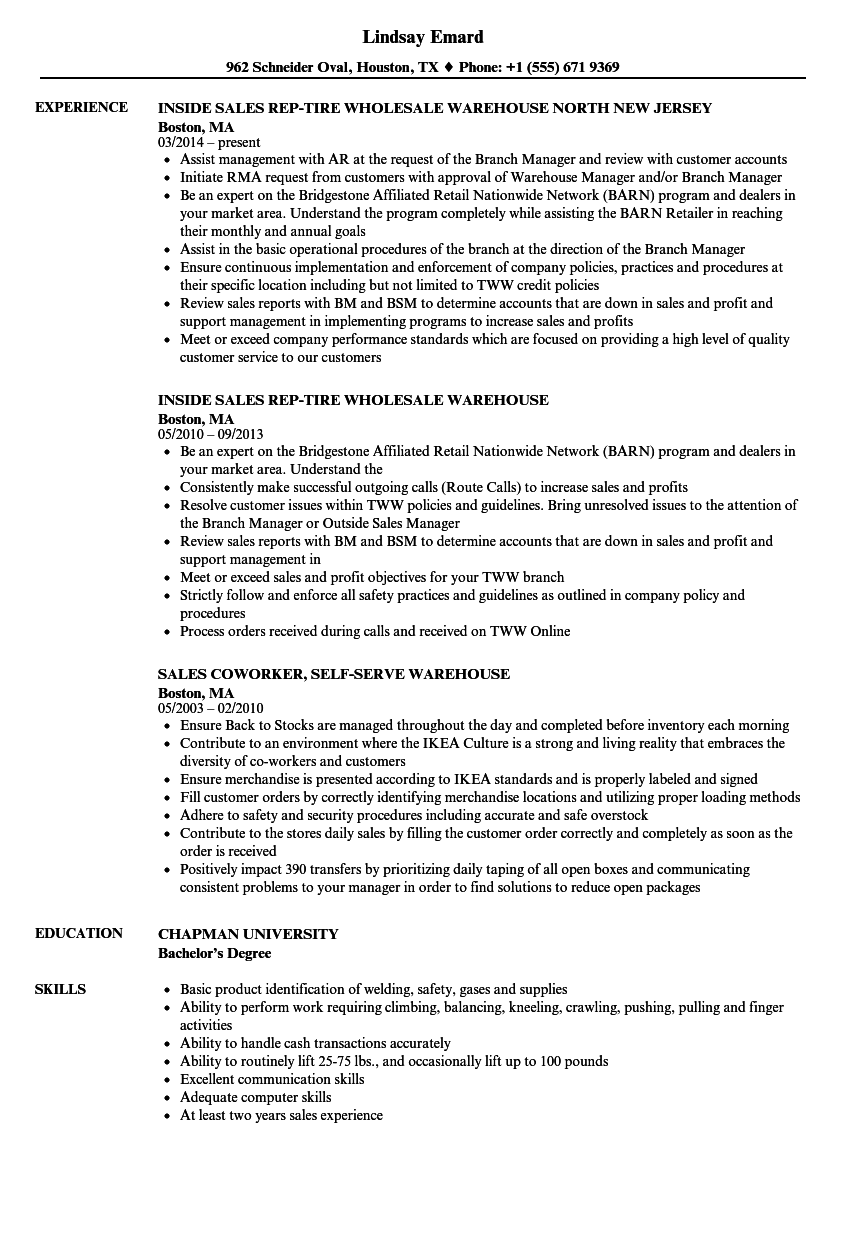 Sales / Warehouse Resume Samples | Velvet Jobs
