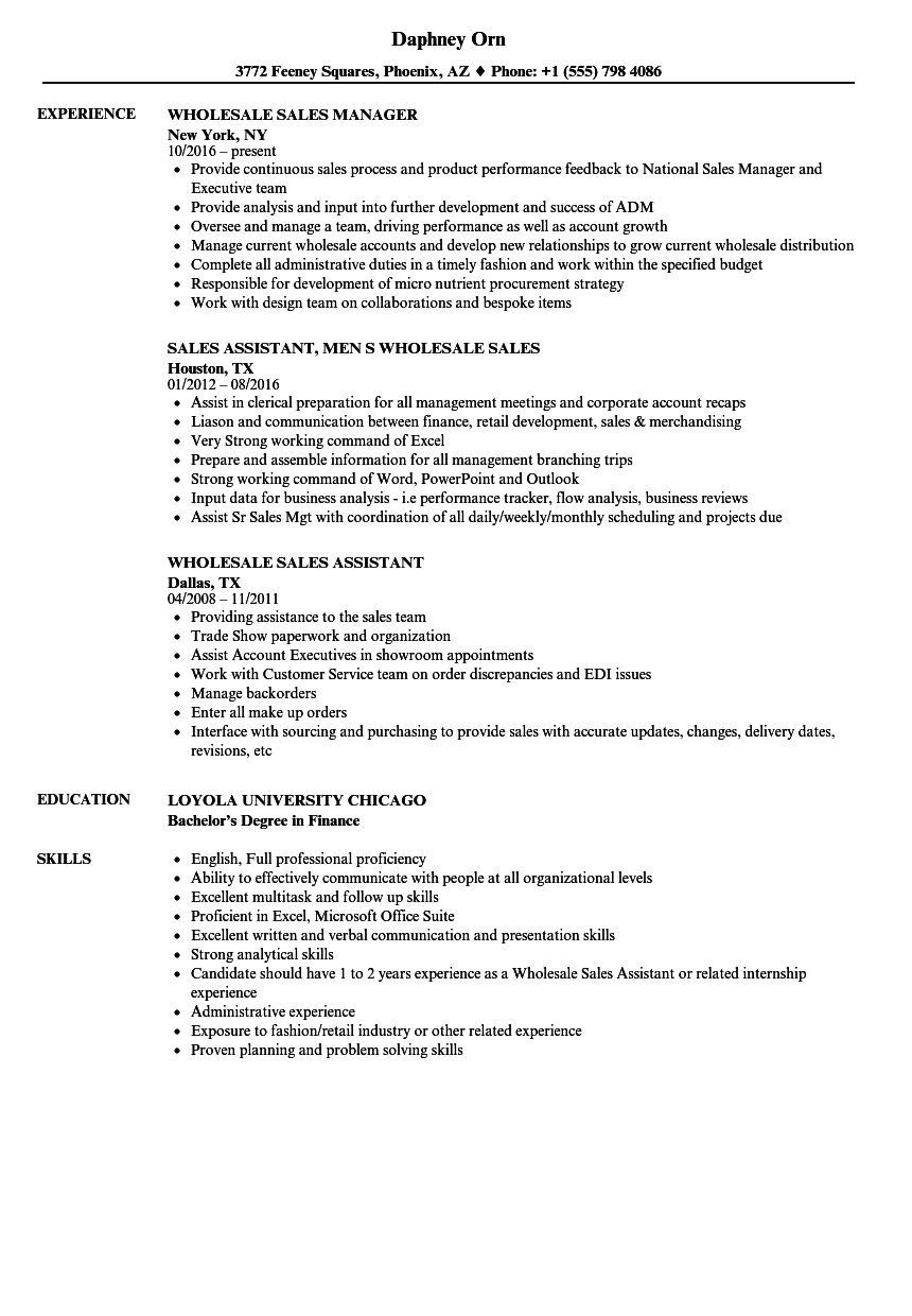 Sales Wholesale Resume Samples Velvet Jobs