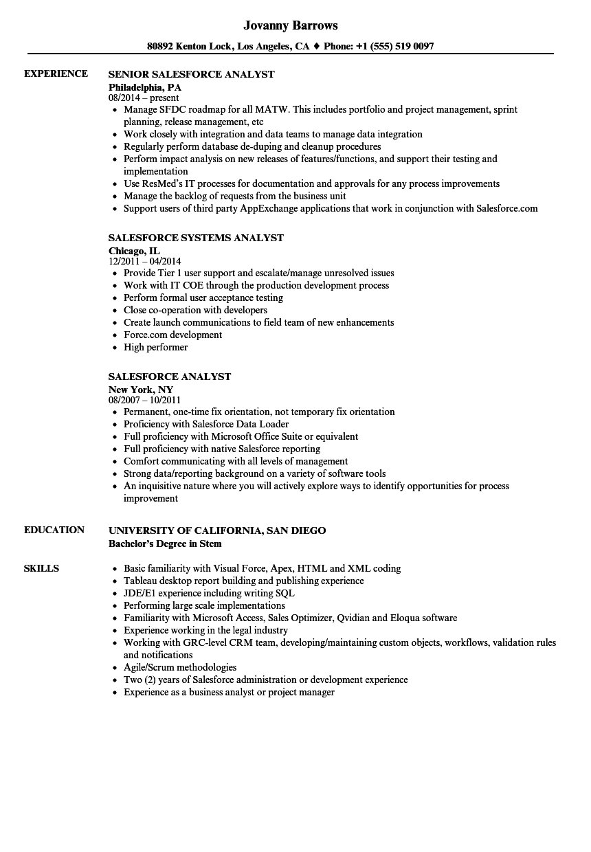 download salesforce analyst resume sample as image file